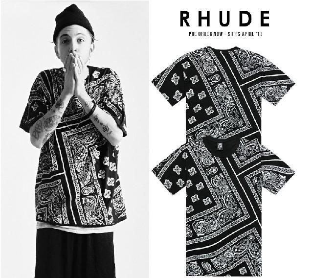 La rhude bandana print ktz west style flowers cashew t-shirts 2014 fashion HBA hoody by air hiphop t shirt hip-hop tee tops(China (Mainland))