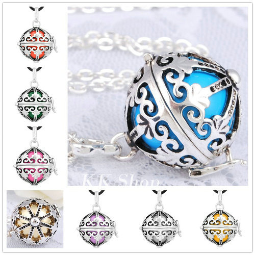 H119 Pregnancy Baby Gift Blackened Silver Cage Pendant Angel Caller Charms 20mm Musical Ball Harmony Bola Pendant Necklace(China (Mainland))