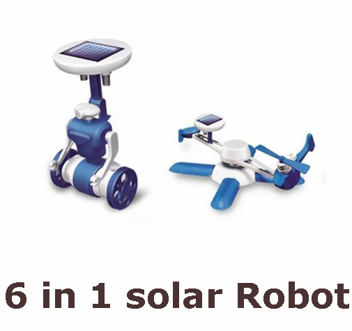 Hot sale New Children's DIY solar toys 6 in1 educational solar power Kits Novelty solar robots For Child birthday Gift(China (Mainland))