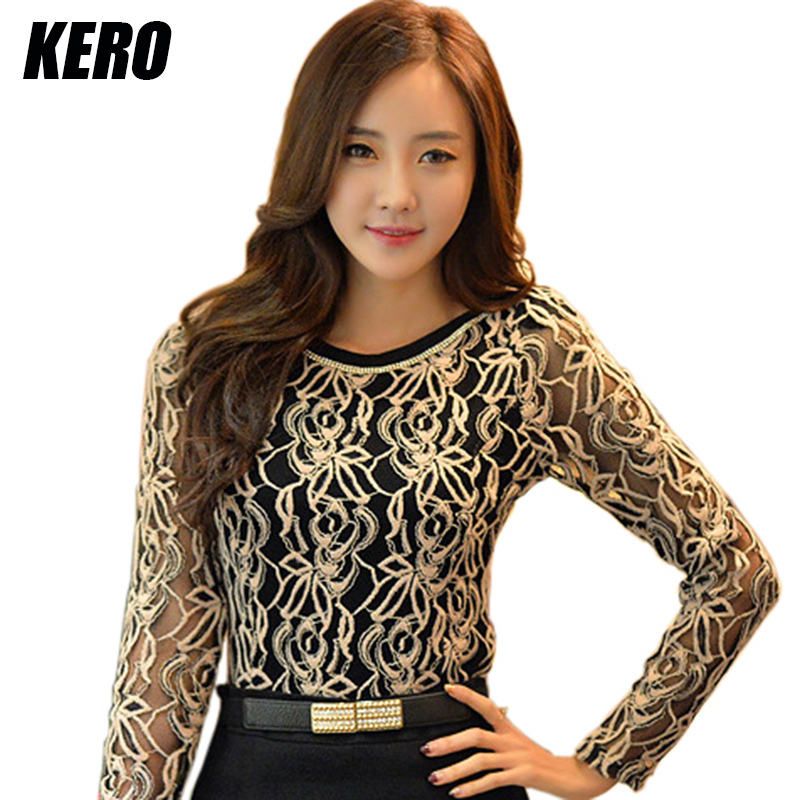 New 2015 Korean Women Elegant Vintage Female Shirt Plus Size Long Sleeve Crochet Black And White Body Lace Chiffon Blouse Income(China (Mainland))