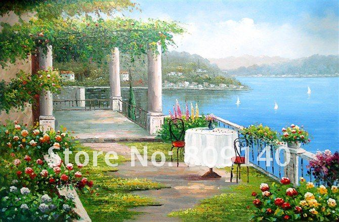Mediterranean Floral Seascape oil painting canvas modern art hand painted home office hotel wall art decor artwork free shipping(China (Mainland))