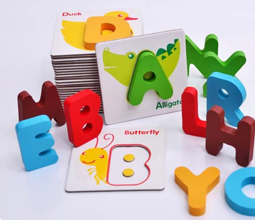 A Set Kids Educational Toys Baby Colorful Wooden Cubes Learning Alphabet Peg Puzzles With Animals A-z Letters 26pcs(China (Mainland))