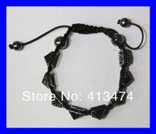 6pcs/lot gunmetal mens crystal rhinestone pave sideway  high quality spike beads macrame bracelet in bulk