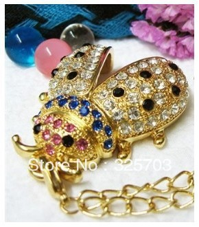 Cheap crystal beetle 4 gb, 8 gb, 16 gb and 32 gb flash drive usb 2.0 pen/gift necklace U disk/memory/free shipping