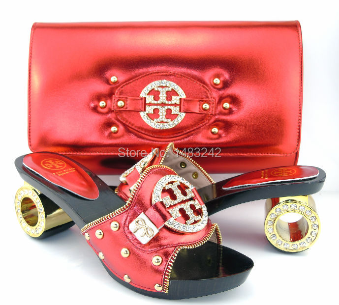 TOL-02 red Fast Shipping Fashion African Wedding Shoes With Matching Bags African Women Shoes and Bags Set Free Shipping!<br><br>Aliexpress
