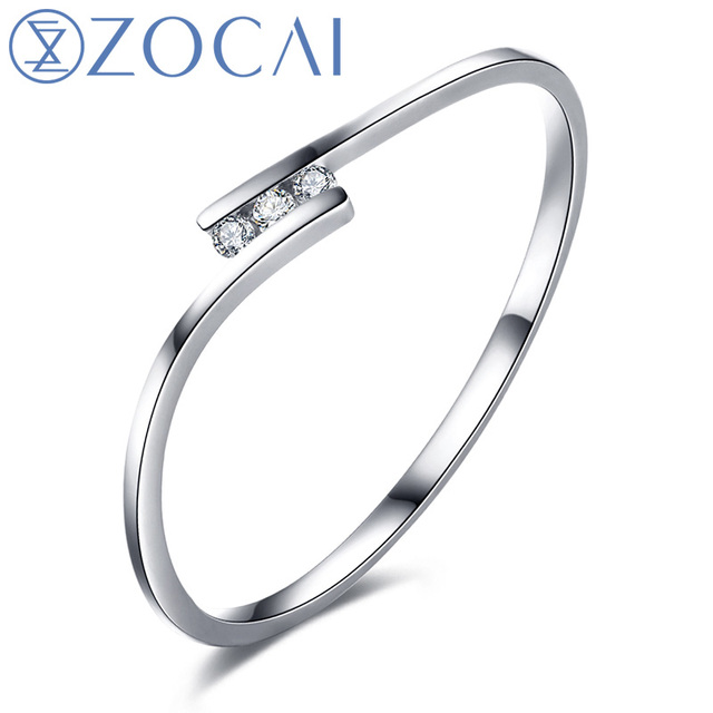 ZOCAI Natural Real 0.03 CT Certified I-J / SI Diamond  Wedding Band Ring 18K White / Rose Gold (Au750)  W00130