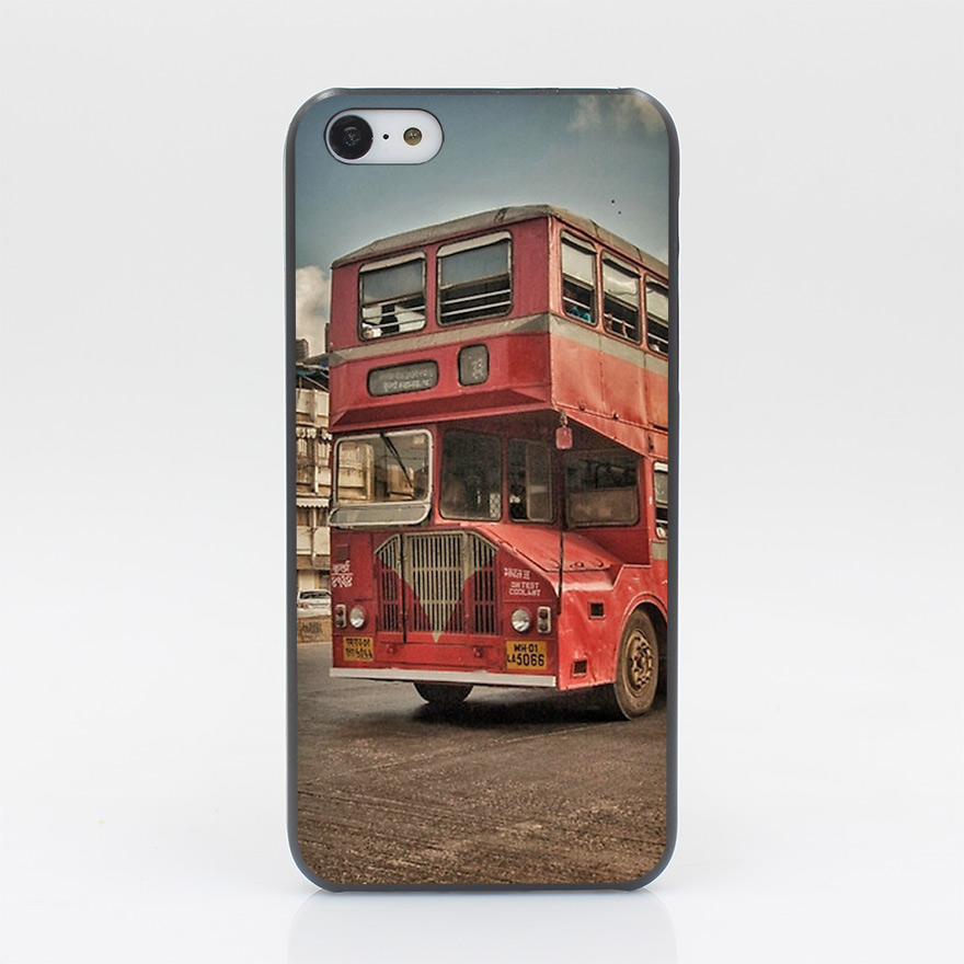 153CD Bombay Bus Hard Black Case Cover for iPhone 4 4s 5 5s 5c SE 6 6s Plus Print(China (Mainland))