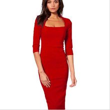 Adogirl Women Square Collar Business Office Dress Three Quarter Sleeve Zipper Back Fashion Knee Length Bodycon Pencil Dresses