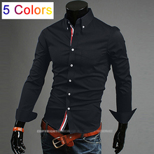 New dropshipping men's shirts Slim fit stylish Dress solid color 2015 long Sleeve Shirts size M-XXXL