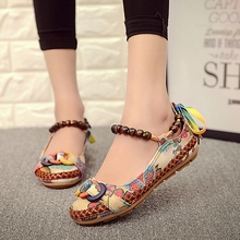 Plus size42 Casual Flat Shoes Women Flats Handmade Beaded Ankle Straps Loafers Zapatos Mujer Retro Ethnic Embroidered Shoes O916(China (Mainland))