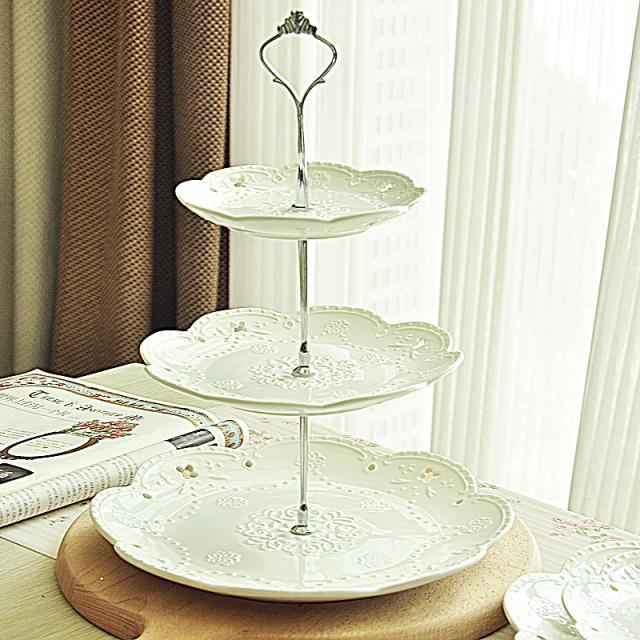 fashion 3 tier ceramic cake stand fruit plate pan dessert tools home decor party supplies - Linda's lovely items store