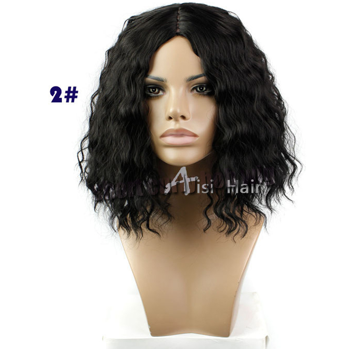 Cheap African American Short Curly Wigs Synthetic Heat Resistant 2# Darker Brown Middle Part Deep Curly Bob Wigs For Black Women<br><br>Aliexpress