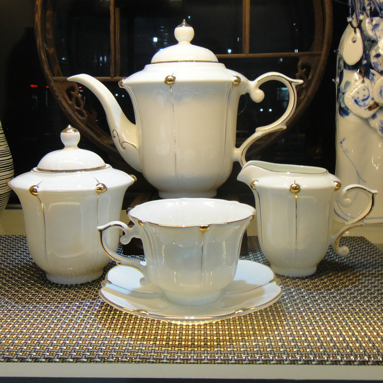 European style tableware 15 pieces luxury coffee tea cup and saucer set bone china coffee sets