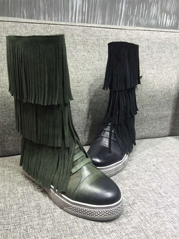 2015 autumn and winter round flat matte leather fringed leather boots womens boots tide personality<br><br>Aliexpress