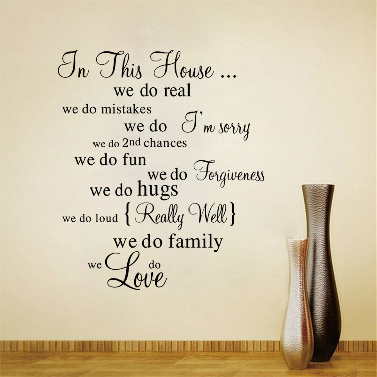 new house rules quote wall stickers home decor diy art