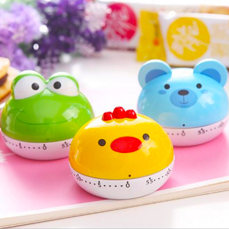 New Cute Cartoon Frog/Birds//Pig Animals Timer Kitchen Timers Cooking Timer Mini Mechanical Movement Timer Alarm Clock(China (Mainland))