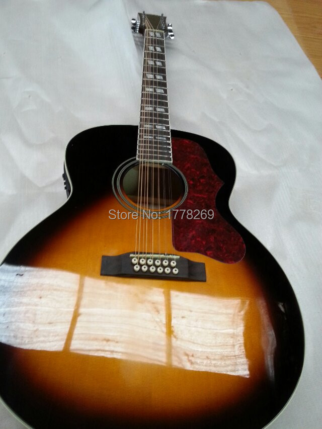 12 strings J200 acoustic guitar Sunburst electric string flame maple Guitar spruce top fishman pickup EQ - the best China OEM store