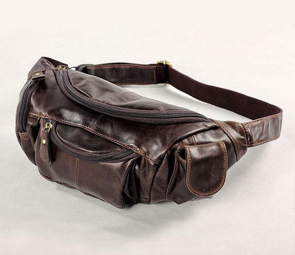 Старинные сумки реального натуральной кожи коровьей мужчины талии обновления чехол ...