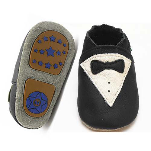 2015 factory driect sale Fish Hard Sole Leather Shoes Baby Infant Toddler Prewalker 6-24 MTHS Black DA1002(China (Mainland))