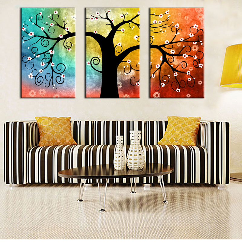 3 Picture Combination HD Paintings impression still life color Canvas painter wu kuang reside Adornment mural tree(China (Mainland))
