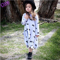 Spring Autumn Long sleeved O collar Baby Girls Dress Kids Clothes Cute Cartoon Mice Dress For