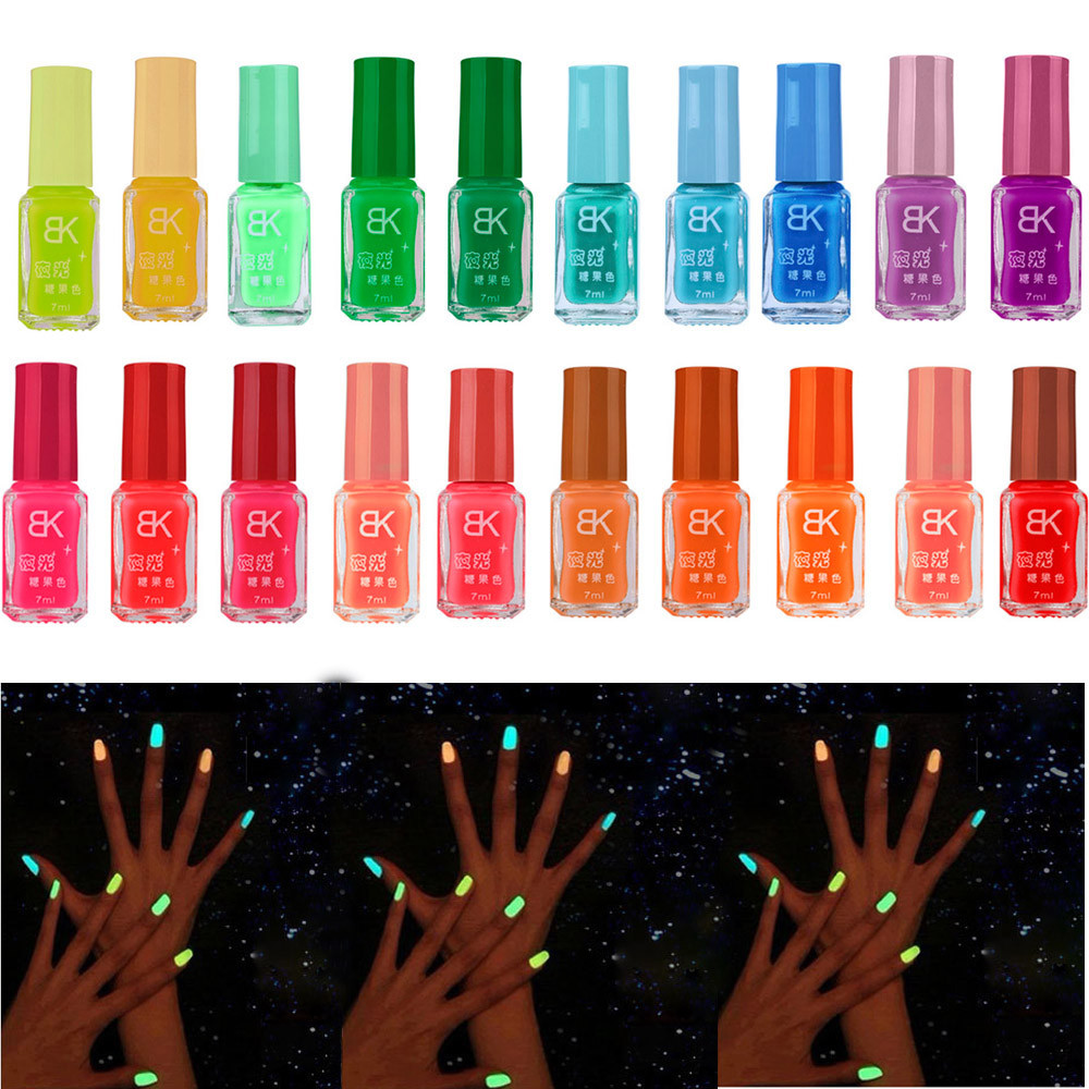 Hotsell 20 Candy Color Fluorescent Neon Luminous Gel Nail Polish for Glow in Dark Nail Varnish Manicure Nail Enamel(China (Mainland))