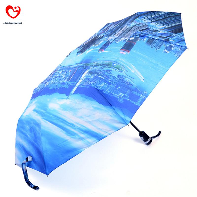 2015 Original Japanese Three Elephants Brand Automatic 3 Fold Oil Painting Style Men Women Clear Rain Umbrella Paraguas Plegable