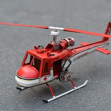 Handmade Vintage Iron Red Military Helicopter Model