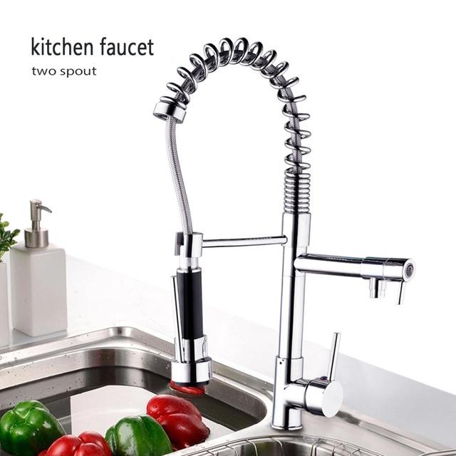 OUBONI Modern Luxury Kitchen Faucet Torneira Cozinha Pull Down Swivel Spray 97168 Chrome Water Tap Basin Sink Faucet Mixers Taps