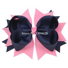 USD1.5/PC 5.5 Дюймов Большой Сложены Бутик Розовый/Синий Малышей Луки С 4.5 см Зажим Для Волос, Grosgrain ленты Луки, Аксессуары для волос