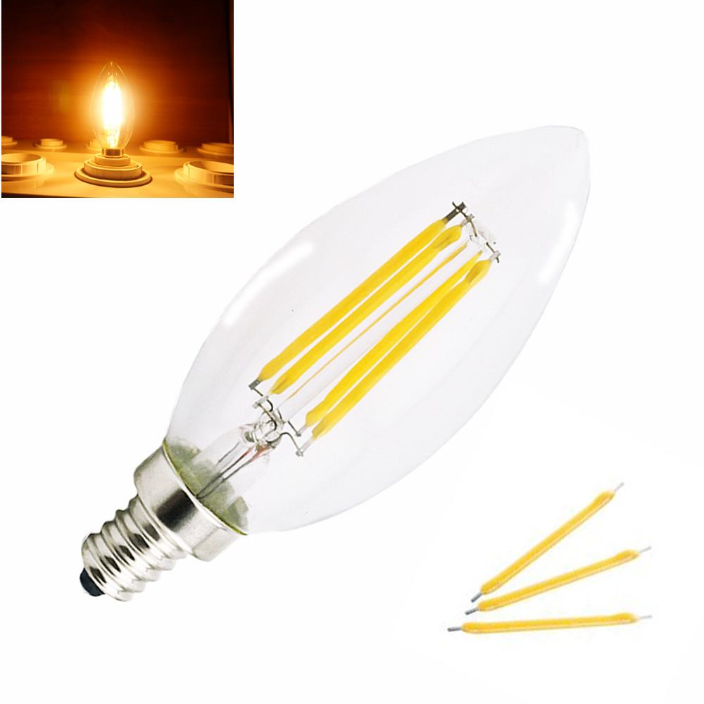 4Pcs/Lot Energy Saving E12 E14 2W 4W LED Candelabra Light Filament Candle Bulb 220V 110V Indoor LED Torpedo Shape Lamp(China (Mainland))