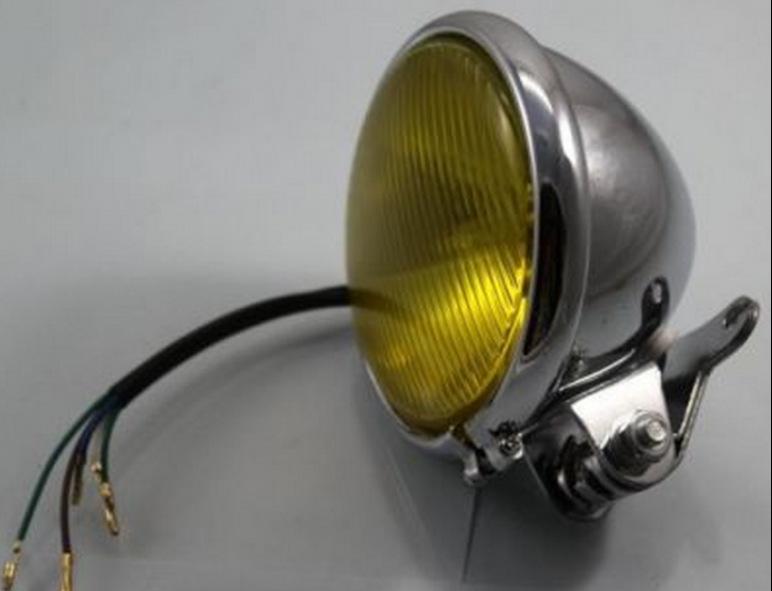 Motorcycle Hight Low Beam Retro Amber Lens12V 35W Halogen Bulbs Headlight Fits For Harley Cafe Racer Bobber