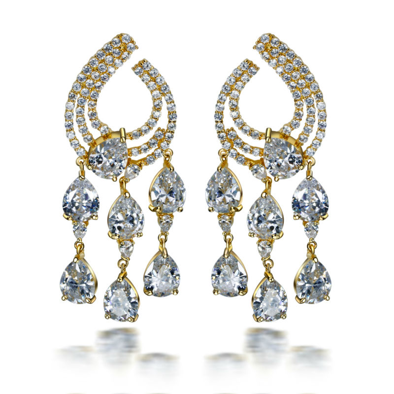 Earring  2016 new Dangling long earrings for party large earrings setting with 3A cubic zirconia platnium &amp; gold plated earrings<br><br>Aliexpress