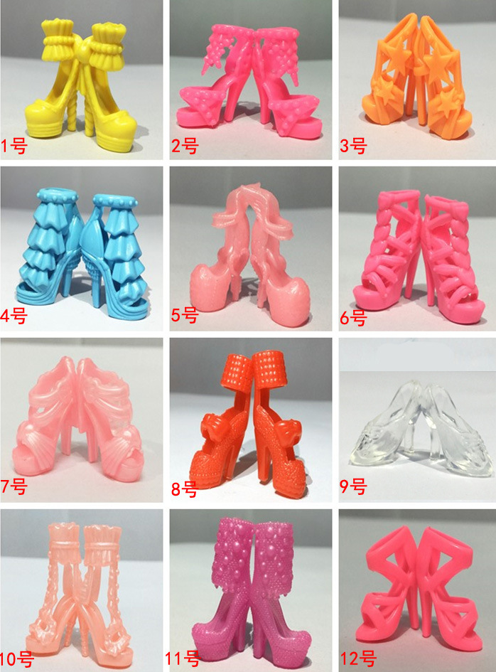Randomly Picked 10 Pairs Colourful Assorted Trend Colourful Doll Sneakers Heels Sandals For Barbie Dolls Equipment Outfit Gown