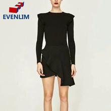 Buy EVENLIM Women Sexy Mini Skirt Female Black Asymmetric Lace Ruffles Skirts High Elastic Waist Slim Package Hip Work Skirt DRT388 for $15.43 in AliExpress store
