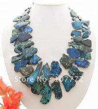 2Strds 21x40MM Imperial Jasper&Crystal Necklace+free shippment(China (Mainland))