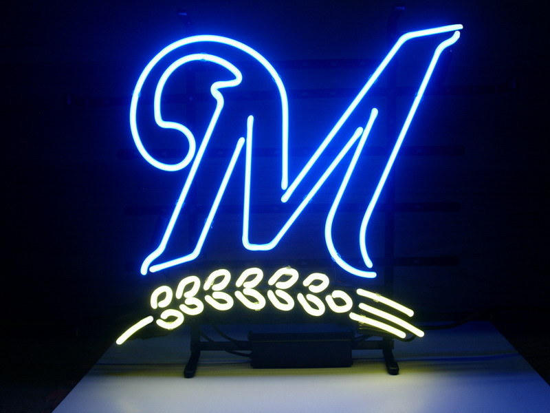 """NEW MILWAUKEE BREWERS 24""""X20"""" GLASS NEON SIGN LIGHT BEER BAR PUB SIGN ARTS CRAFTS GIFTS SIGNS(China (Mainland))"""