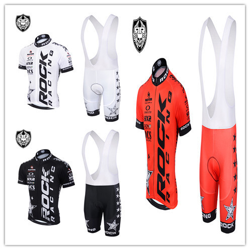 2015 rock racing cycling jersey / tight ropa ciclismo bib shorts gel pad / summer short-sleeved men's bicycle clothing(China (Mainland))