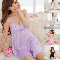 Fashion Suspender Night Dress Women Deep V Silk Pajamas Sleepwear Shirts Robes