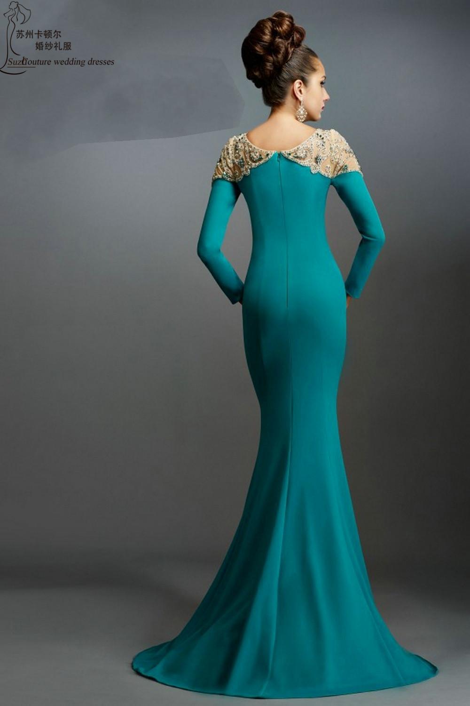 Long sleeve evening dress green - Fashion dresses