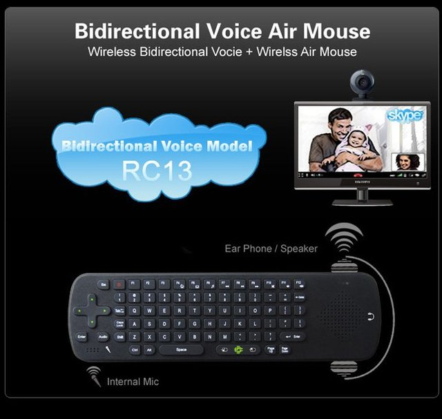 Measy RC 13 Wireless air Fly mouse+QWERT keyboard+ remote control for  TV BOX  MK808 MINI PC Speaker and MIC for Skype