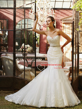 Real Sample Glamorous Low-cut Floor Length Strapless Mermaid Wedding Dresses Bridal Gown vestido de noiva(China (Mainland))