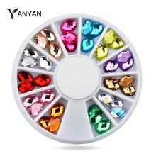 Nail Art Rhinestone Decoration,6X8mm 36pcs/set Glitter Nail Beads Gems,Manicure Wheel Nail Tools