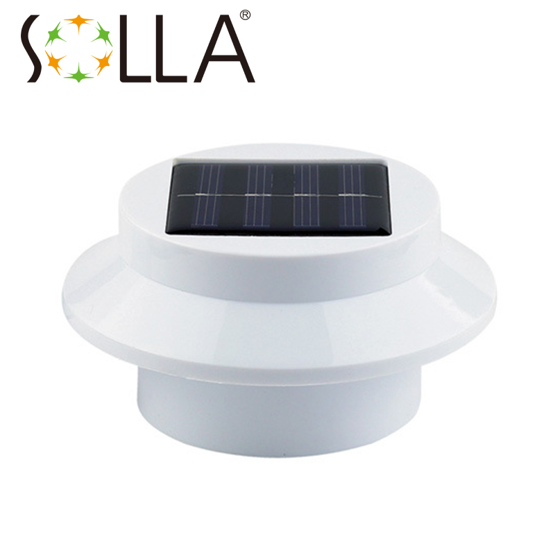 Shenzhen manufacturer Outdoor Solar Powered 3 LED Cool White/Warm White Light Fence Gutter Garden Yard Roof Wall Lamp(China (Mainland))