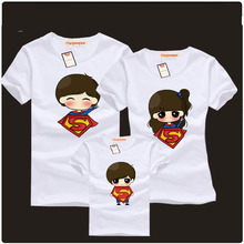 Mother Daughter Dress 2016 Summer Mother & Father Baby Family Clothes Supermen Matching Outfits Short-sleeved Cotton T-shirt