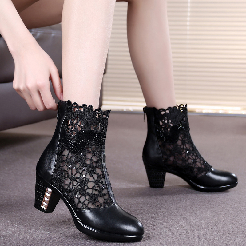 Genuine leather female spring and autumn cutout mesh boots network shoes medium hells shoe martin boots<br><br>Aliexpress