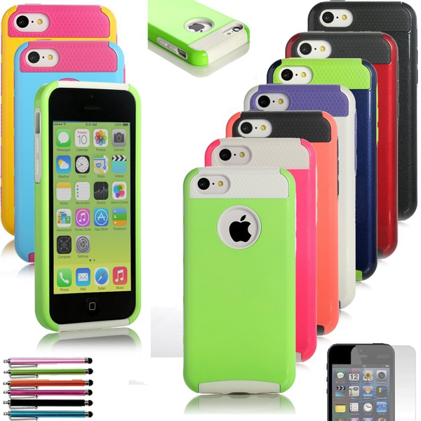 Colorful Heavy Duty Hybrid Rugged Soft Hard Combo Case Cover iPhone 5C 5 C+Free Screen Protector + Stylus Pen - LEMFO 3C Brand Mall store