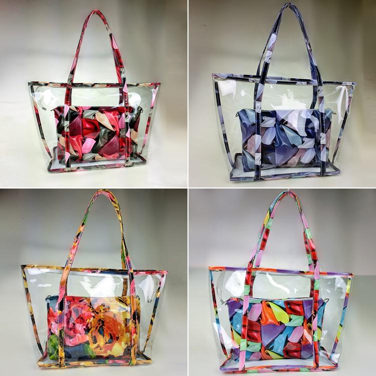 Popular Women Shoulder Bags Handbags Women Famous Brands Candy PVC Transparent Beach Bag Composite Bag Handbag Tote(China (Mainland))