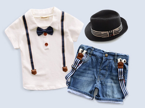 Retail Free shipping new children's clothing boys summer casual dress hat + shirt + jeans three sets of suits Boys Clothing(China (Mainland))