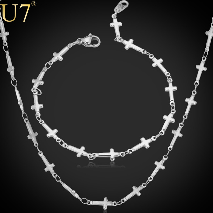 U7 Christian Cross Necklace Set Made With High Quality 316L Stainless Steel Necklace/Bracelet Jewelry Set Wholesale S467(China (Mainland))